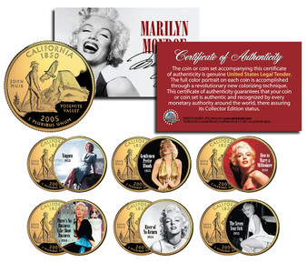Marilyn Monroe Movies Set One Colorized & 24K Gold Plated California State Quarter 6 Coin Set