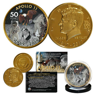 Apollo 11 Man on Moon 50th Anniversary JFK Centennial Tribute 24K Gold Plated Coin 1 Footprint