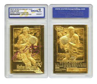 Kobe Bryant SkyBox EX-2000 Purple Signature 23K Gold Sculptured Card Graded Gem Mint 10