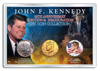 Kennedy 50th Anniversary Election and Inauguration Silver, 24K Gold Plated and Colorized JFK Half Dollar 3 Coin Set