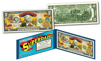 Happy Father's Day Super Dad Colorized $2 Bill