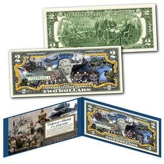 World War II Commemorative Colorized $2 Bill
