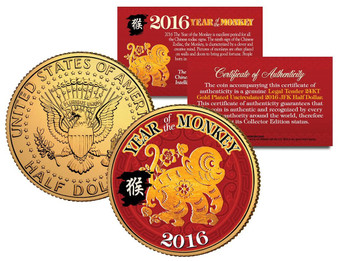 2016 Chinese Year of the Monkey 24K Gold Plated & Colorized JFK Half Dollar