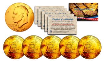 Set of 5 24K Gold Plated Bicentennial Ike Dollars
