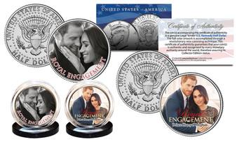 Prince Harry & Meghan Markle Royal Engagement Colorized JFK Half Dollar 2 Coin Set