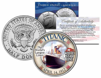 The Titanic World's Largest Liner JFK Half Dollar
