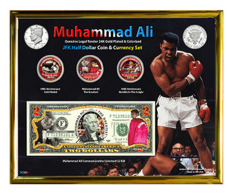 "Muhammad Ali Colorized JFK Half Dollar Coin & Currency Set in 8"" x 10"" Frame"