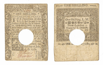 Colonial Note 1780 Connecticut 1 Shilling July 1, 1780 Printed by T. Green SN 6899