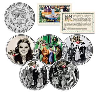 The Wizard of Oz Movie 5 Coin JFK Half Dollar Set
