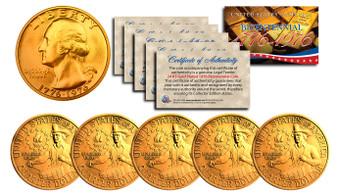 Set of 5 24K Gold Plated Bicentennial Quarters