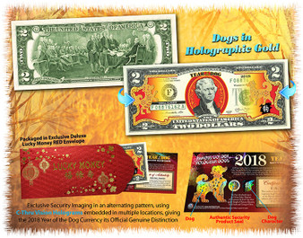2018 Year of the Dog Gold Hologram Colorized $2 Bill in Red Envelope