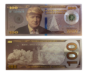 President Trump Space Force Silver Plated $100 Novelty Bill