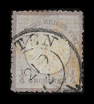 1872 #001 Small Shield 1/4 Groschen Cancelled