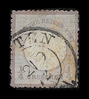 1872 #001 Small Shield 1/4 Groschen Cancelled