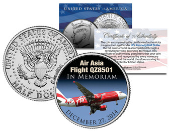 Air Asia Flight Q28501 In Memoriam Colorized JFK Half Dollar
