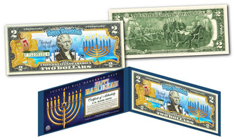 Happy Hanukkah Festival Of Lights Colorized $2 Bill