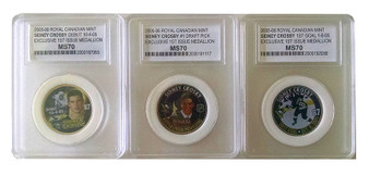 Sidney Crosby 2005-2006 Royal Canadian Mint Medallions NHL Rookie 3 Coin Full Set - Graded MS70 Condition