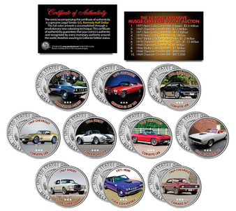Most Expensive Muscle Cars - Set of 10 Colorized JFK Half Dollars