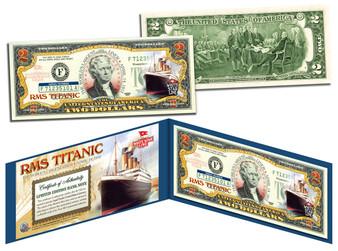 Titanic Commemorative Colorized $2 Bill