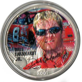 Dale Earnhardt Jr. Colorized 2001 Silver Eagle in Case