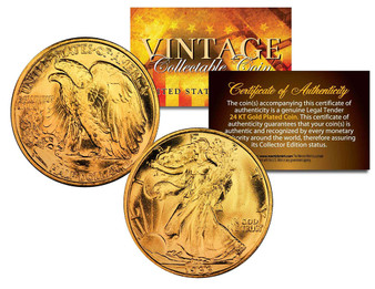 24K Gold Plated 1930's Walking Liberty Silver Half Dollar