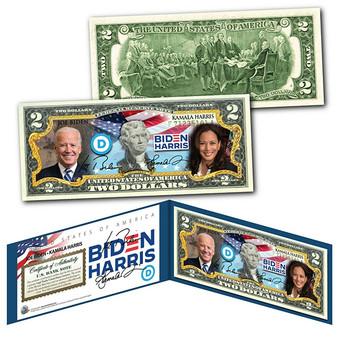 2020 Election Biden/Harris Colorized $2 Bill