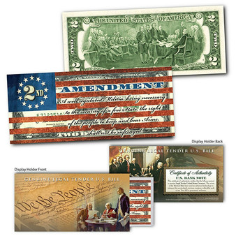 """2nd Amendment Right of the People to Keep and Bear Arms """"Flag"""" Genuine Colorized $2 Bill"""