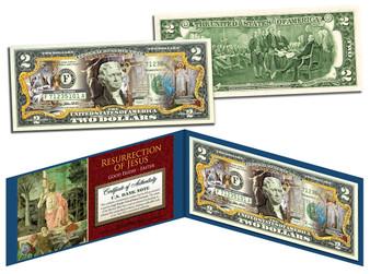 Jesus Resurrection Easter Colorized $2 Bill