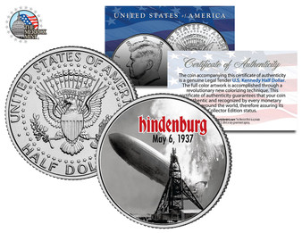 Hindenburg Disaster Colorized JFK Half Dollar