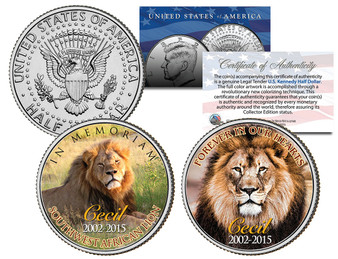 Cecil The Lion In Memoriam JFK Half Dollar 2 Coin Set