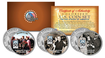 JFK 50th Assassination Colorized JFK Half Dollar 3 Coin Set