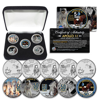 Apollo 11 50th Anniversary State Quarter 5 Coin Set in Box