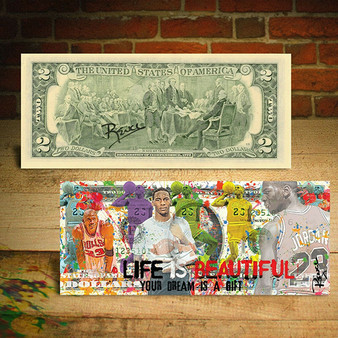 Rency Art Michael Jordan Life is Beautiful Dream Colorized $2 Bill Hand-Signed by Rency