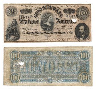 Confederate Currency 1864 Lucy Pickens $100 Note