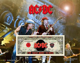 """AC/DC"" Novelty Million Dollar Bill Obverse Display on an 8"" x 10"" Display Card"
