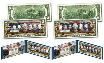 American Civil War Famous Confederate & Union Generals Set of 2 Commemorative Colorized $2 Bills