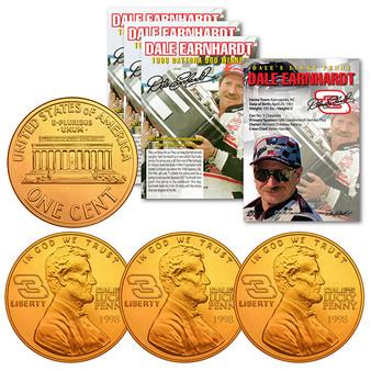 Dale Earnhardt 1998 Daytona 500 Win 24K Gold Commemorative Lucky Penny - Lot of 3