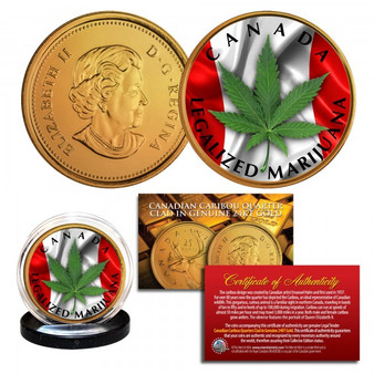 Canada Legalized Marijuana 24K Gold Plated & Colorized Caribou Quarter Lot of 5
