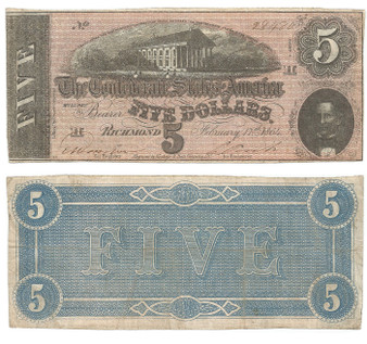 Confederate Currency 1864 $5 Note