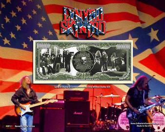 """""""Lynyrd Skynyrd"""" Novelty Million Dollar Bill Reverse Display on an 8"""" x 10"""" Display Card"""
