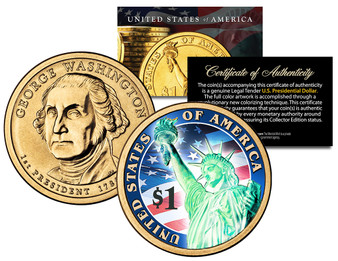 2007 Washington Presidential $1 Dollar Coin with Hologram Liberty