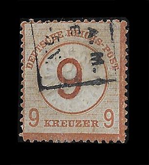 1872 #30 Large Shield 9 Groschen Cancelled