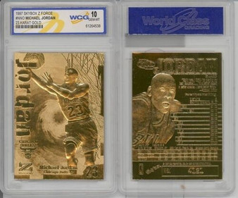 1997 Michael Jordan SkyBox Z-Force 23K Gold Sculptured Card Graded Gem Mint 10