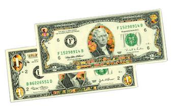 Gold Hologram Stars $1 & $2 Bill Set - FC Mint