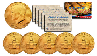 Set of 5 24K Gold Plated Bicentennial 1976 JFK Half Dollars