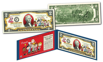 Charlie Brown & Gang With Franklin Peanuts Commemorative Colorized $2 Bill