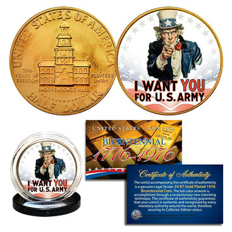 Uncle Sam 24K Gold-Plated 200th Anniversary Bicentennial JFK Half Dollar