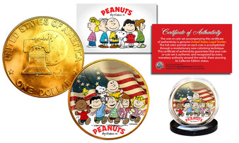 Peanuts Betsy Ross Flag 24K Gold Plated & Colorized 1976 Bicentennial Ike Dollar