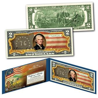Bennington Flag The Spirit of 1776 USA Vintage Flag Series Colorized $2 Bill