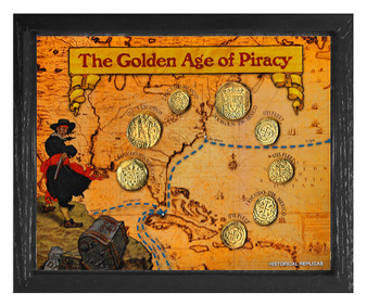 """Golden Age Of Piracy 24K Gold Plated Historical Replica Set in 8"""" x 10"""" Frame"""